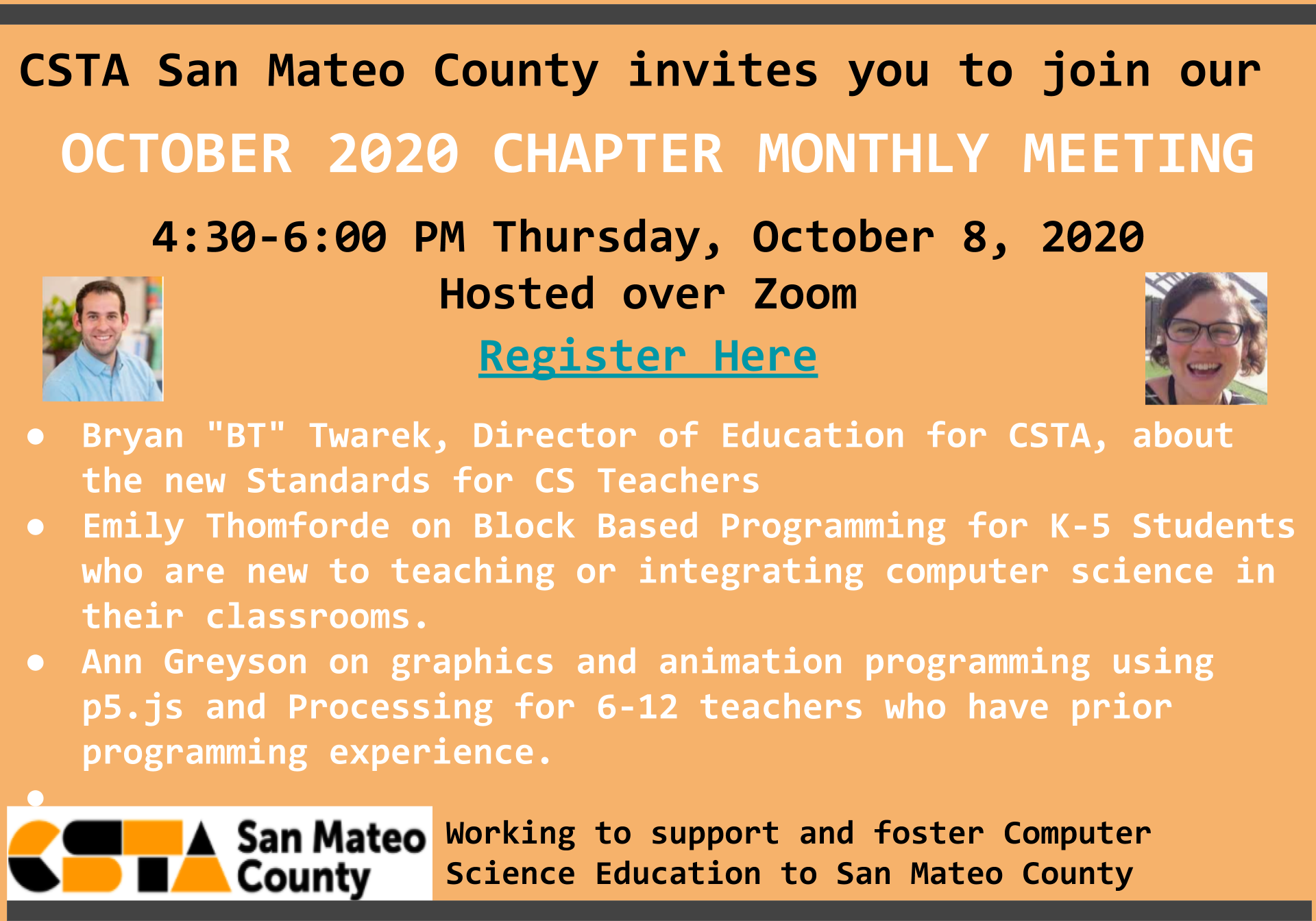 October 8 2020 : CSTA San Mateo County Chapter Monthly Meeting (CSTA San Mateo County (CA))