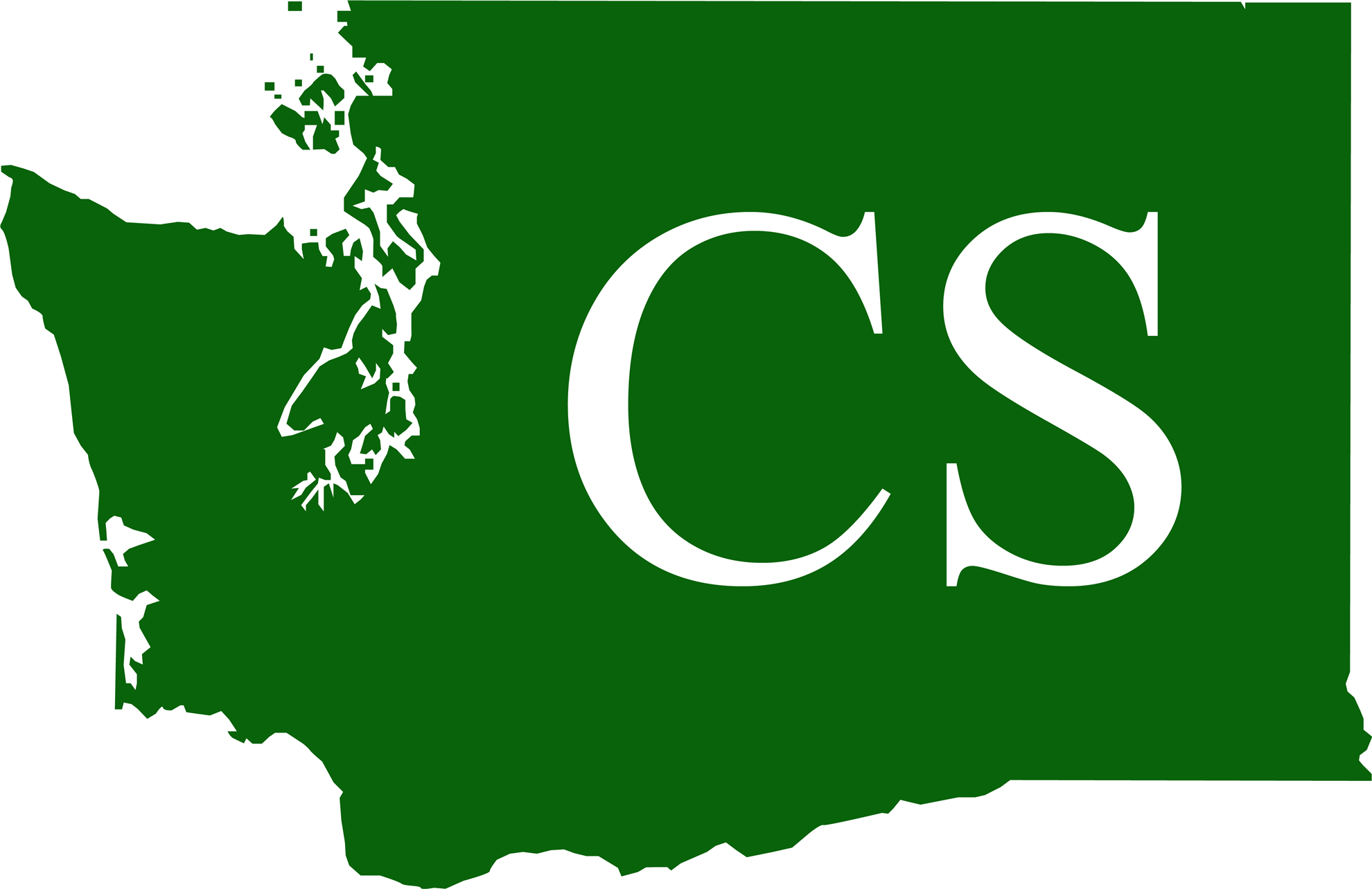 Green silhouette of WA state with CS in the middle