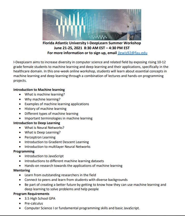 Florida Atlantic University I-DeepLearn Summer Workshop (CSTA PBC / Broward (FL))