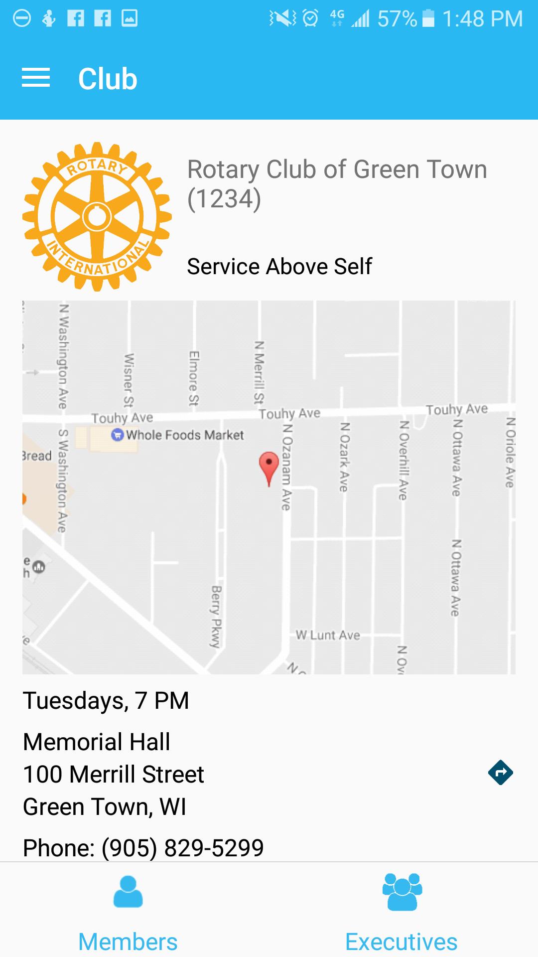 Club Info Page